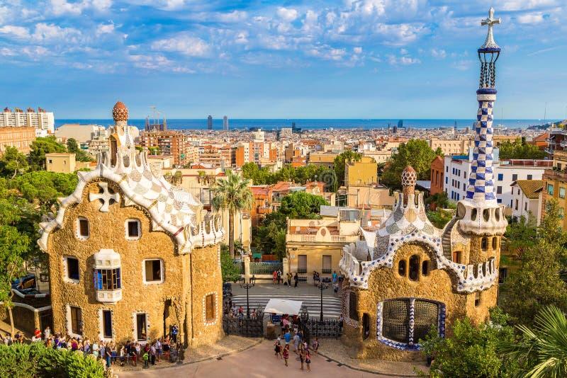 barcelona guellpark spain royaltyfri fotografi