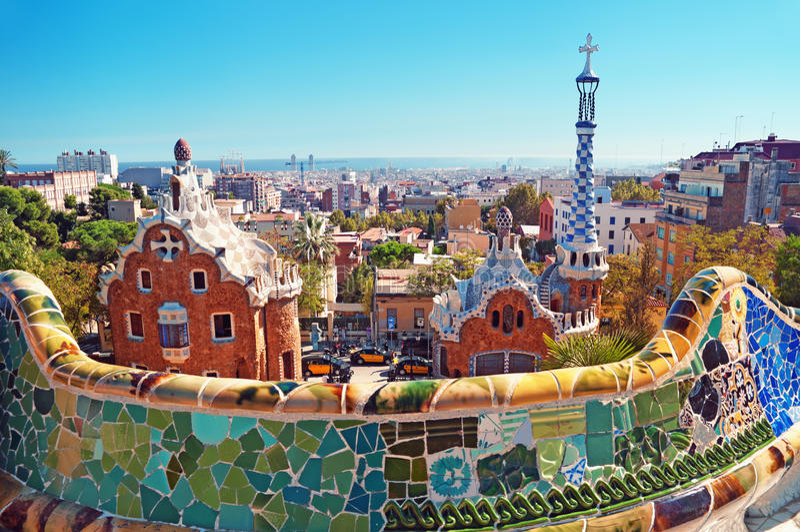 barcelona guellpark spain royaltyfri foto