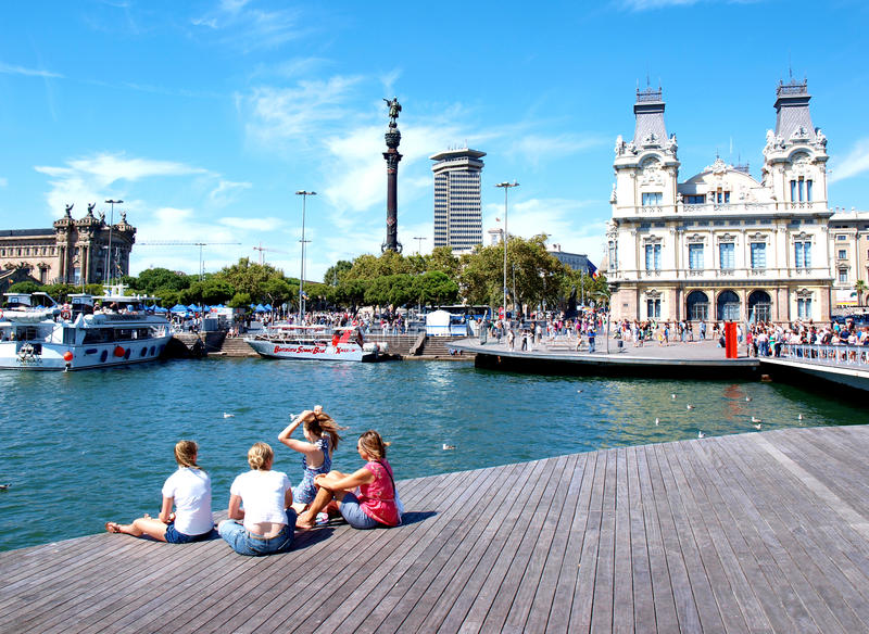 Barcelona harbour royalty free stock images