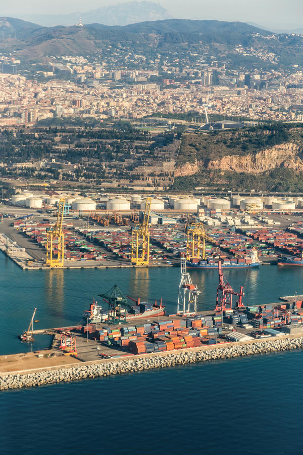 Barcelona Harbour, seen from the air royalty free stock photo