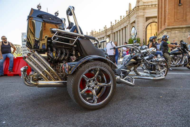 BARCELONA HARLEY DAYS 2013. BARCELONA, SPAIN - JULY 06: Harley Davidson customized for exhibition during BARCELONA HARLEY DAYS 2013, on July 06, 2013, Barcelona royalty free stock photo
