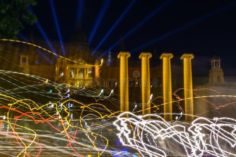 Barcelona Hiszpania, Czerwiec, - 6: Iluminujący zabytki na Czerwu 6, 2016 zdjęcia royalty free