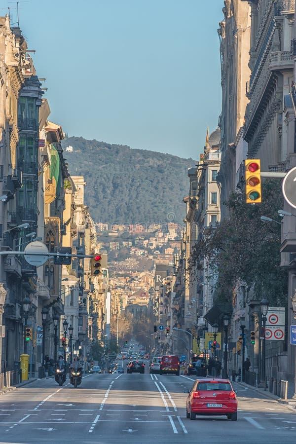 Barcelona Hiszpania, Marzec, - 17, 2019: Widok Barcelona miasta ulicy Hiszpania obrazy royalty free