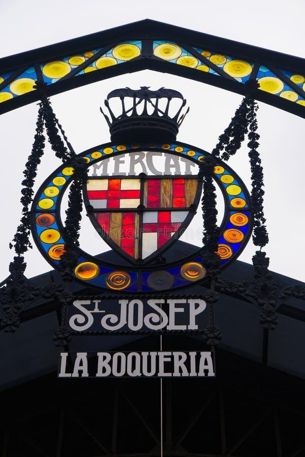 Barcelona, Hiszpania Mercado De Los Angeles Boqueria signboard obraz royalty free