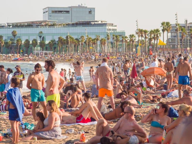 Barcelona Hiszpania, Sierpień, - 5, 2018: Miasto plaża, 400 metrów tęsk, ja jeden 10 najlepszy miastowych plaż świat turyści zdjęcia royalty free