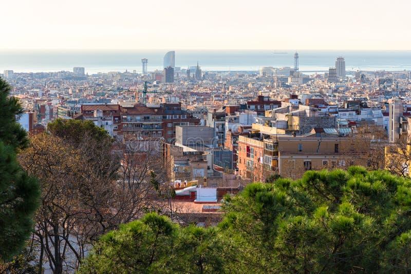 Barcelona horisont, Catalonia, Spanien royaltyfri fotografi