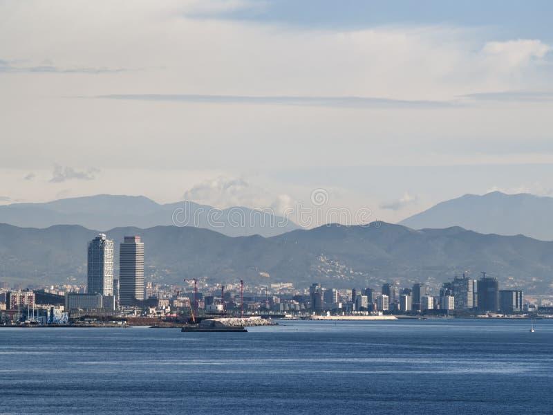 Barcelona horisont från havet royaltyfri fotografi