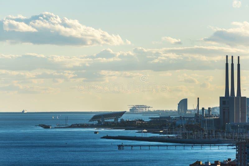 Barcelona horisont, Spanien royaltyfria foton