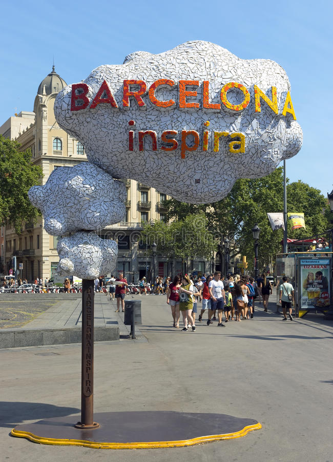 Barcelona Inspira. BARCELONA, SPAIN - JULY 14, 2015: Barcelona Inspira - Welcome sign at Square of Catalonia in Barcelona, Spain. A tourist friendly metropolis stock photo