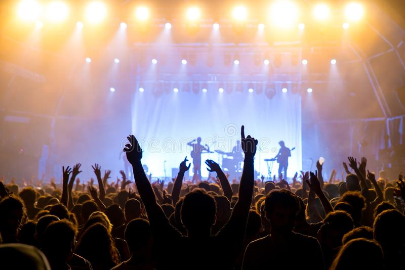 Crowd in a concert at Vida Festival royalty free stock photography