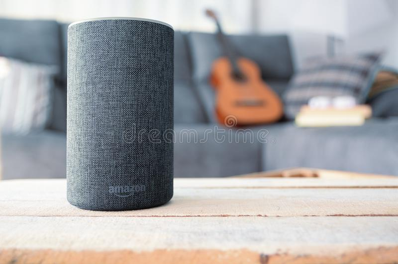 BARCELONA - JULY 2018: Amazon Echo Smart Home Alexa Voice Service in a living room on July 20, 2018 in Barcelona. royalty free stock photography