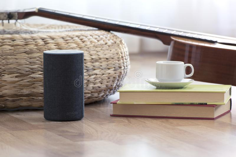 BARCELONA - JULY 2018: Amazon Echo Smart Home Alexa Voice Service in a living room on July 17, 2018 stock images