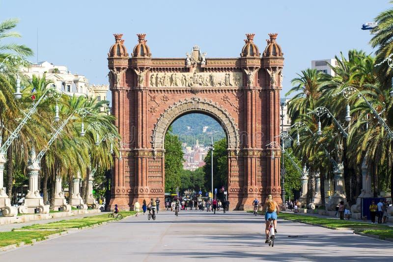 BARCELONA - JULY 18: Arc de Triomf landmark in Ciutat Vella district on July 18, 2018 in Barcelona royalty free stock photography