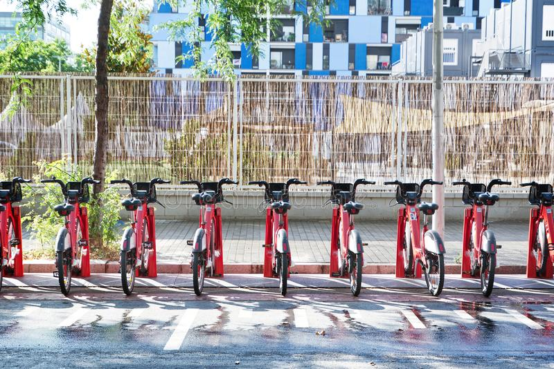 BARCELONA, JULY 9: Electric bicycle renting service in Plaça Universitat in Barcelona stock images