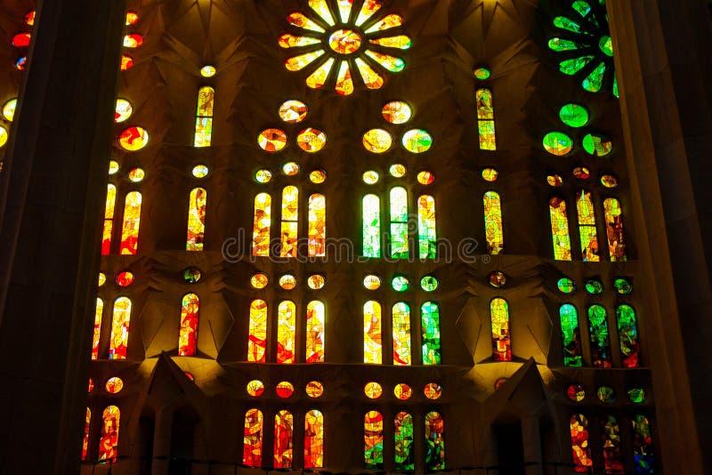 BARCELONA, July 1, 2019, Sained glass windows in the Sagrada Familia, Gaudi creation. Basilica and Expiatory Church of the Holy Family in Barcelona.Sained glass royalty free stock photo