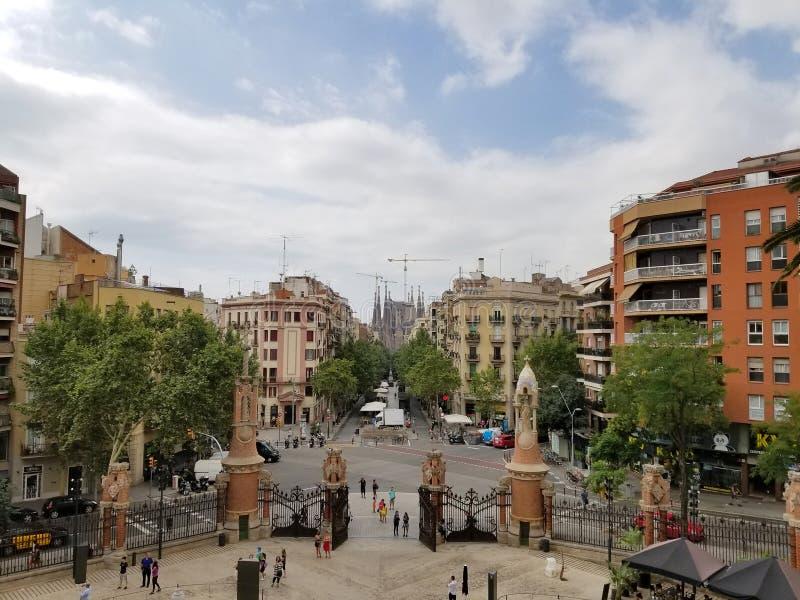 Barcelona, July 2017: View of Sagrada Familia from Sanit Pau Hos. Pital. Antonio Gaudi Street. Barcelona, Spain. Europe royalty free stock photos