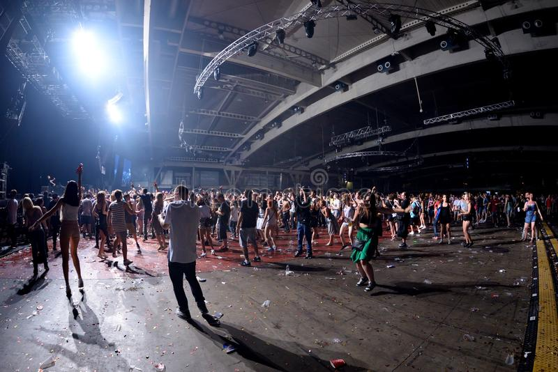 Crowd dance in a concert at Sonar Festival stock image