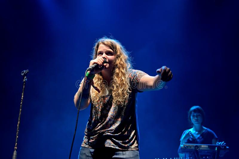 Kate Tempest poet, playwright, rapper and recording artist performs at Sonar Festival. BARCELONA - JUN 19: Kate Tempest poet, playwright, rapper and recording stock photo