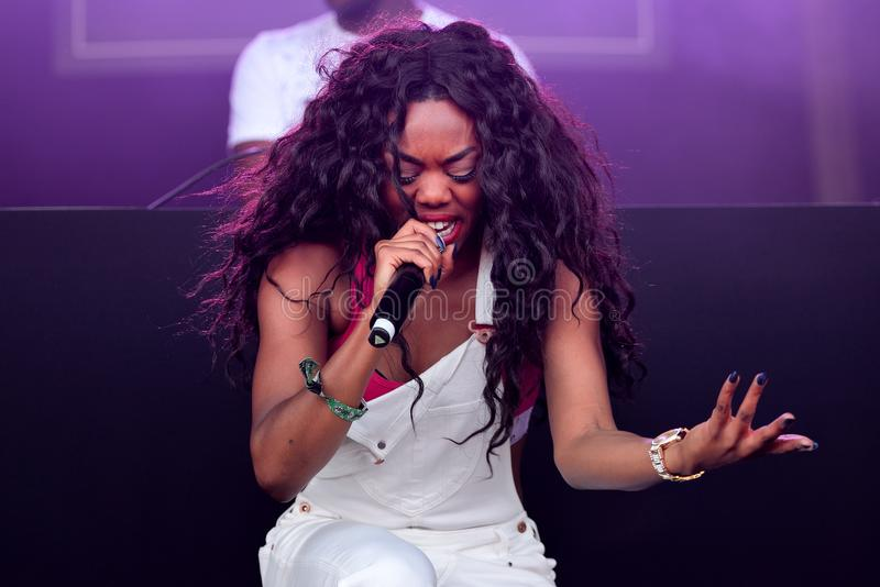 Lady Leshurr rapper, singer and producer performs in concert at Sonar Festival. BARCELONA - JUN 16: Lady Leshurr rapper, singer and producer performs in concert royalty free stock photo