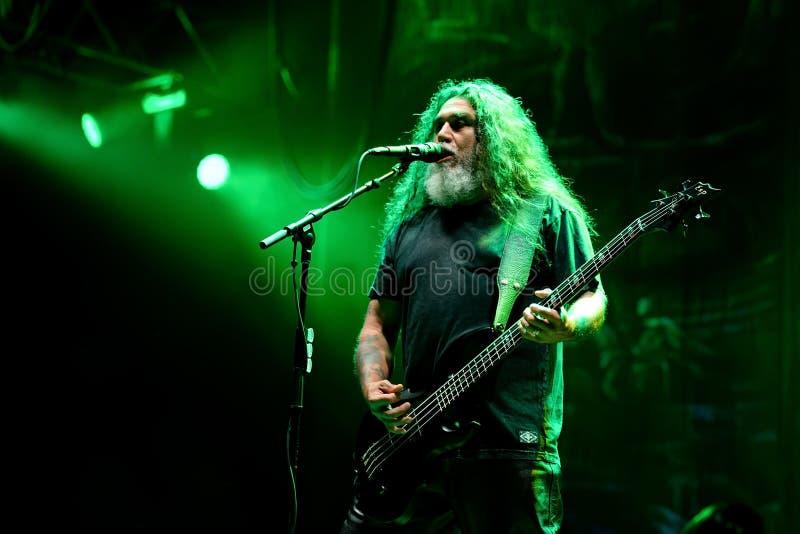 Slayer heavy metal music band perform in concert at Primavera Sound 2017. BARCELONA - JUN 1: Slayer heavy metal music band perform in concert at Primavera Sound stock photography