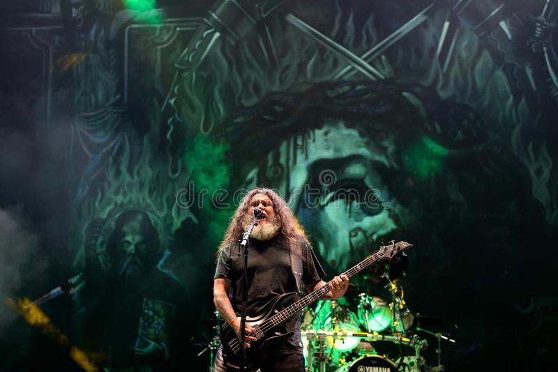 Slayer heavy metal music band perform in concert at Primavera Sound 2017. BARCELONA - JUN 1: Slayer heavy metal music band perform in concert at Primavera Sound royalty free stock photography