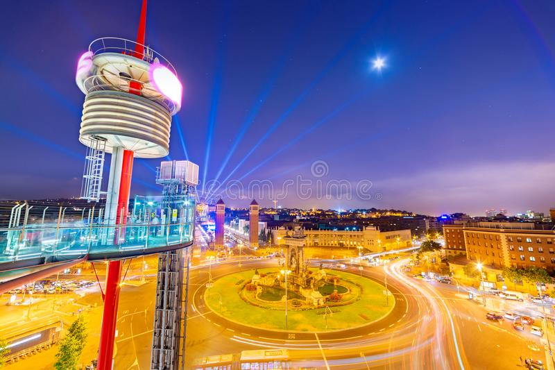Barcelona - June 2015, Spain: Night view of the Central Square Plaça d`Espanya from the trade center Arenas de Barcelona royalty free stock image