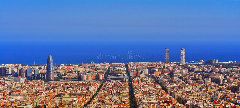Barcelona linii horyzontu noc fotografia stock