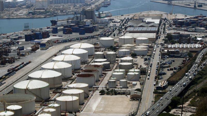 Barcelona liquid natural gas loading facility. Barcelona LNG storage and loading port facility, Barcelona, Spain, July 2016 royalty free stock photography