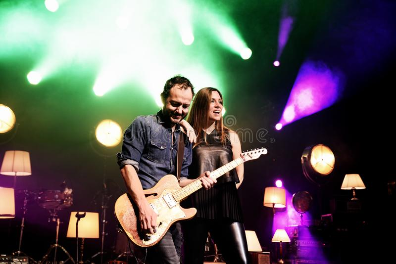 La Oreja de Van Gogh Spanish band perform in concert at Barts stage. BARCELONA - MAR 18: La Oreja de Van Gogh Spanish band perform in concert at Barts stage on stock image