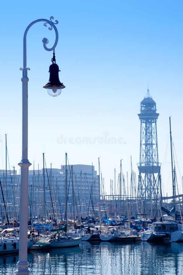 Barcelona marina port with teleferic tower royalty free stock photos