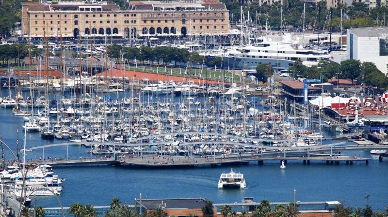 Barcelona marina view stock photo