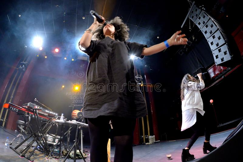 Ibeyi soul and contemporary rhythm and blues cuban band in concert at Apolo stage Primavera Sound 2015. BARCELONA - MAY 26: Ibeyi soul and contemporary rhythm royalty free stock images