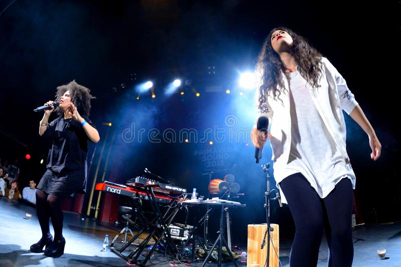 Ibeyi soul and contemporary rhythm and blues cuban band in concert at Apolo stage Primavera Sound 2015. BARCELONA - MAY 26: Ibeyi soul and contemporary rhythm stock photo