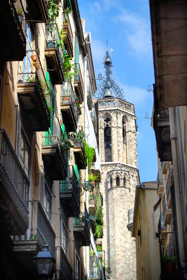 Barcelona Medieval Gothic Style Church Tower. Medieval Church tower as viewed from the narrow alleyway streets of Barcelona, Spain stock images
