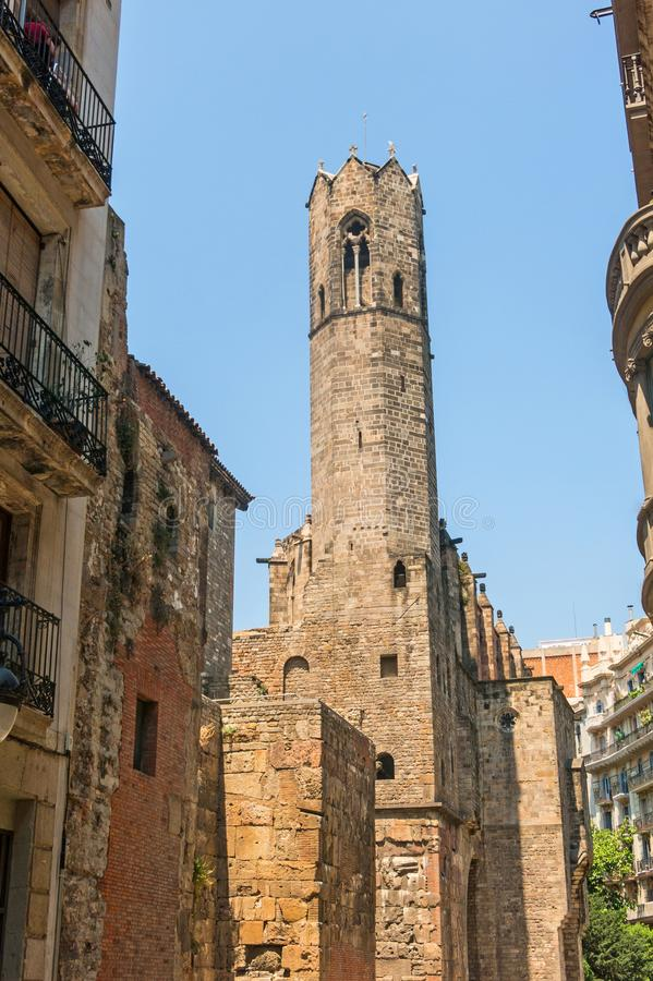 Barcelona: medieval Tower of Santa Agata Chapel. also known as King`s Chapel, in the heart of Barri Gotic gothic quarter. stock photography