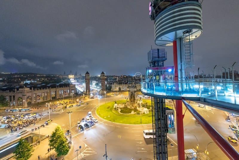 BARCELONA - MEI 12, 2018: Nacht luchtmening van het Vierkant van Spanje van royalty-vrije stock afbeelding