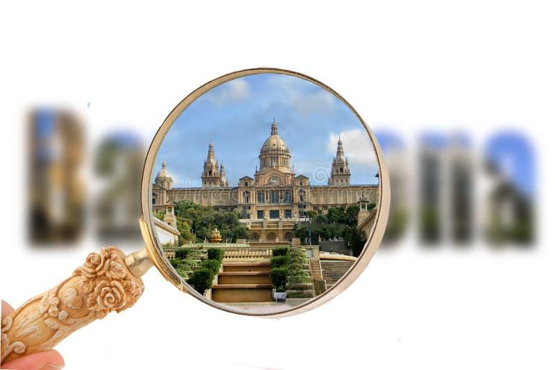Barcelona mit verschiedenen Touristenattraktionen lizenzfreie stockfotografie
