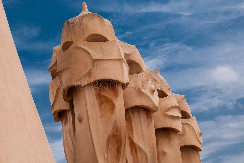 Gaudi statues and chimney sculpture royalty free stock image