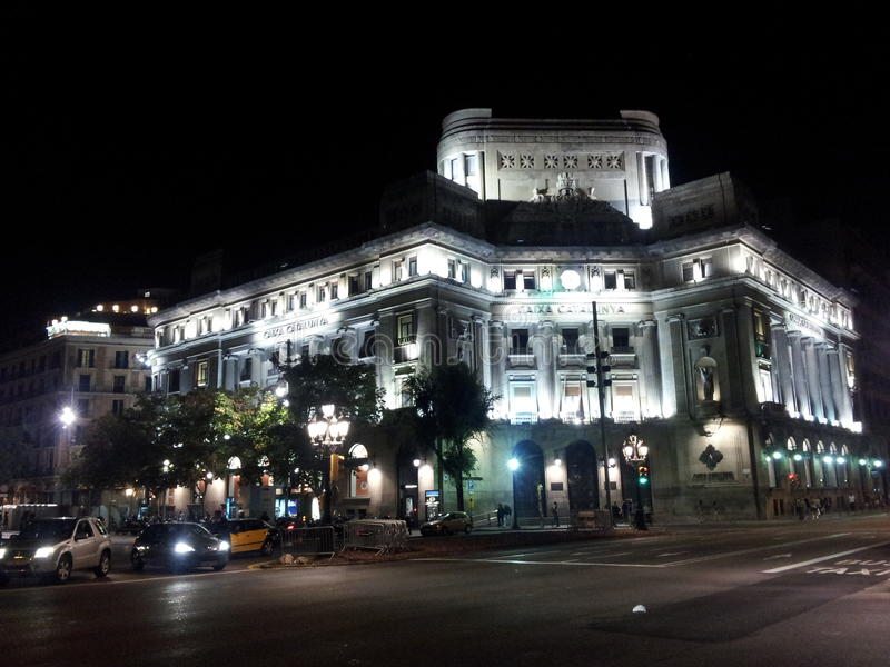 Barcelona nachts lizenzfreies stockbild