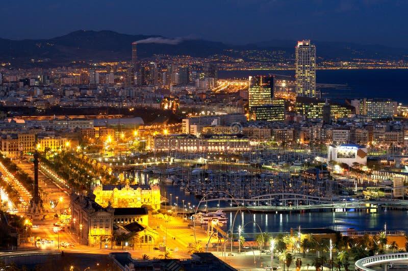barcelona natt royaltyfri fotografi
