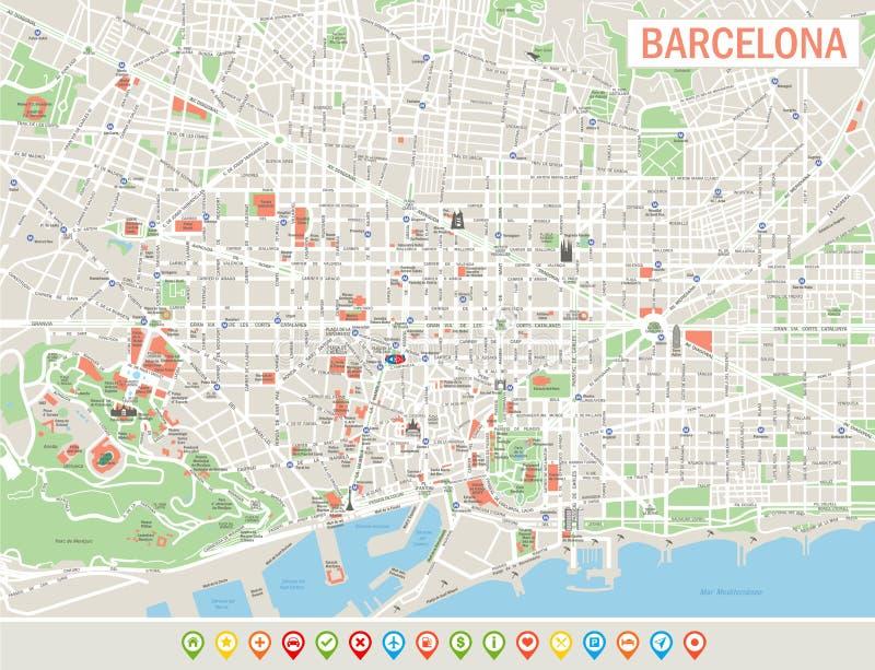 Barcelona nawigaci i mapy ikony royalty ilustracja