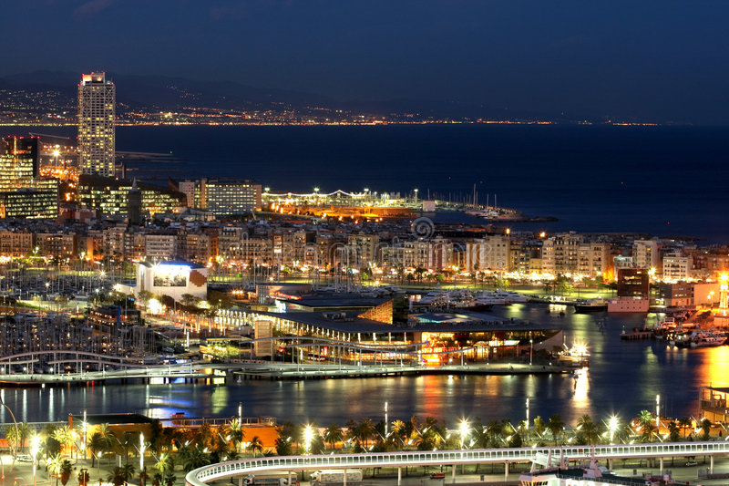 Barcelona by night stock photography