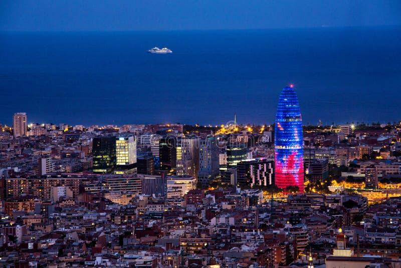 Barcelona at night Agbar Tower royalty free stock image