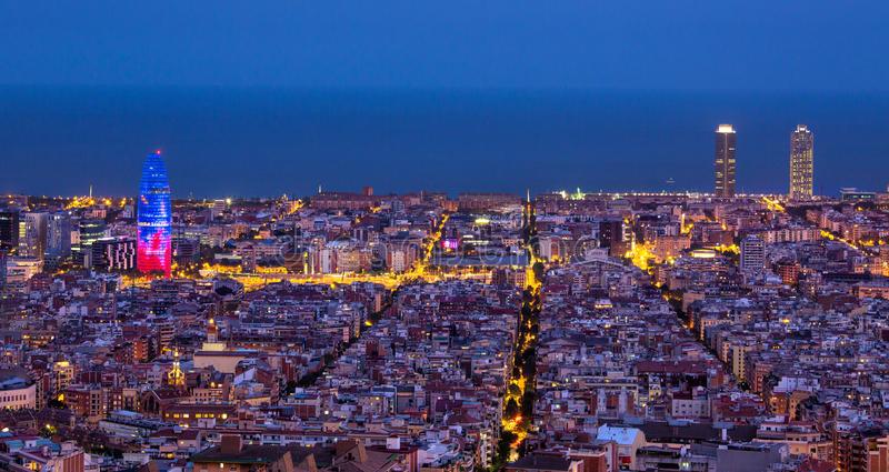 Barcelona at night royalty free stock images