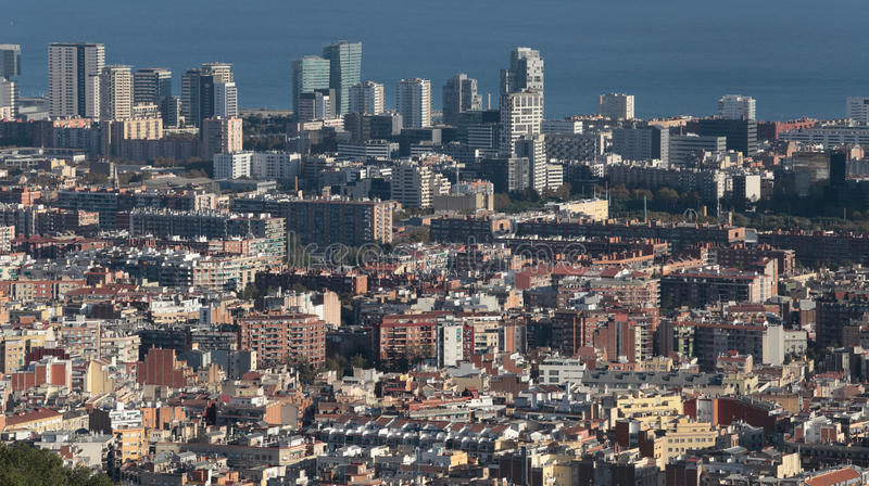 Barcelona north seaside skyline. The city of Barcelona, skyline view from nearby hill of Turo de la Rovira. Barcelona is one of the world`s leading tourist stock image