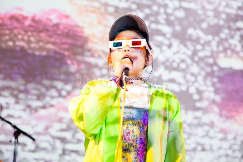 Superorganism band perform in concert at Primavera Club 2017 Festival. BARCELONA - OCT 22: Superorganism band perform in concert at Primavera Club 2017 Festival stock photos