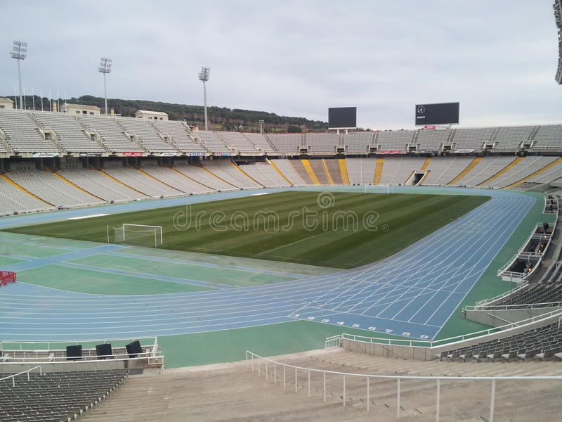 Barcelona olimpic stadium. Built for the olimpic games in Barcelona in 1992, it has a wonderful design architectonic and it can visit free in the montjuic's royalty free stock photography
