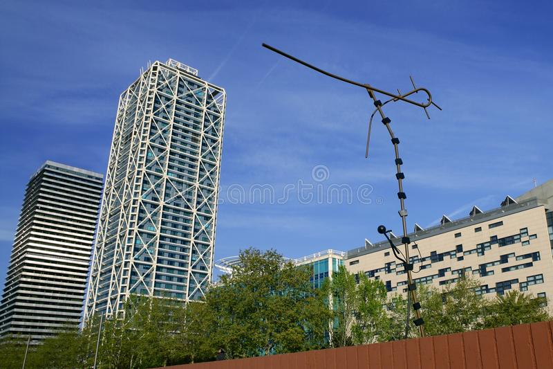 Barcelona Olimpic Villa city and sculptures royalty free stock photo