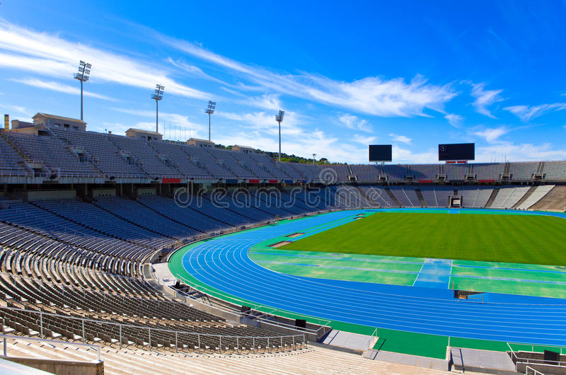 Barcelona. Olympic stadium. Landscape in a sunny day royalty free stock images