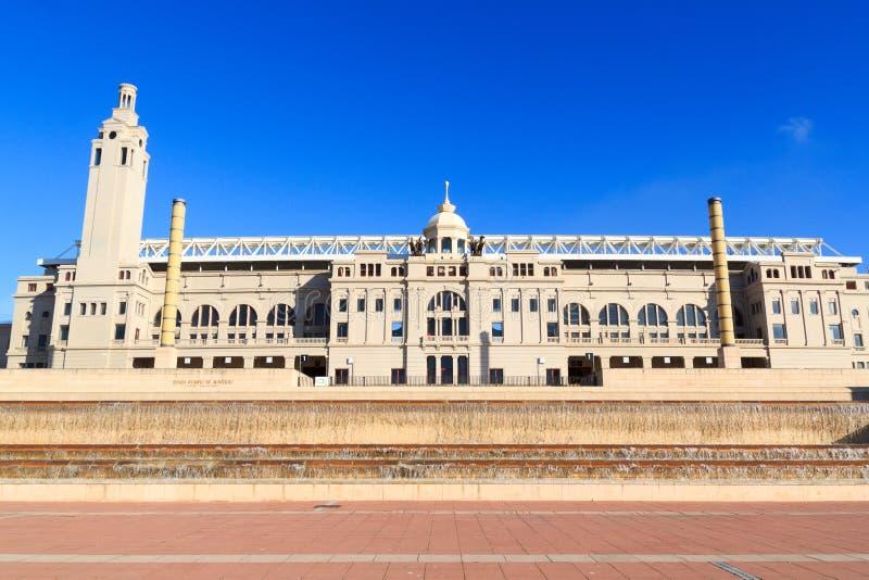 Barcelona Olympic Stadium (Estadi Olimpic Lluis Companys) facade. Spain stock images